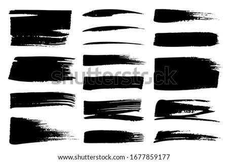 Collection set of hand drawn underline and strokes in marker brush doodle style. Grunge brushes. Black and white background. Stock foto ©