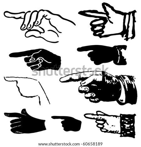 Collection set of hand gestures pointing. Vector illustration