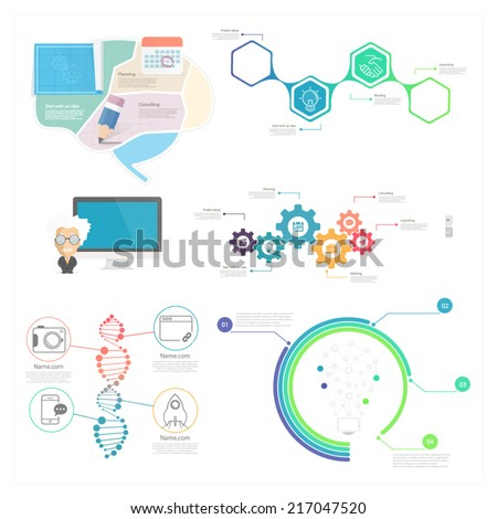 Collection set of Infographic elements for business slide presentations websites and mobile templates