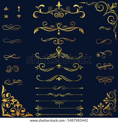 Collection set of label ornament vector with gold gradient
