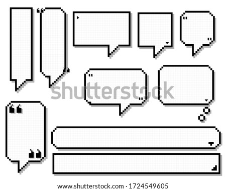 collection set of retro game 8 bit line pixel speech bubble balloon black and white color with shadow, flat design vector illustration