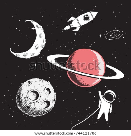 Collection set of space elements.Hand drawing style.Vector illustration