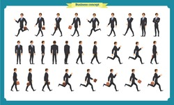 Collection set of Walking and running businessman. Walk, run, active. Variety of movements. Flat Character man cartoon style, Side view, haft front view,Vector design isolated vector. Business people