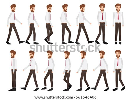Collection set of Walking businessman. sprite frame loop. Walk. Active. Variety of movements. Flat Character cartoon style. front view, haft front view, Side view. Simple design. Vector