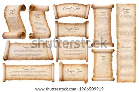 collection set old parchment paper scroll sheet vintage aged or texture isolated on white background. Photo stock ©