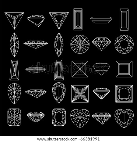 Collection  shapes of diamond against black background - stock vector