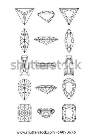 Collection  shapes of diamond against white background. Wireframe