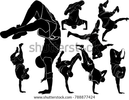 collection silhouettes breakdancer on a white background