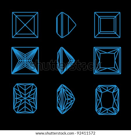 Collection square shapes of a gemstone against black background. Wireframe
