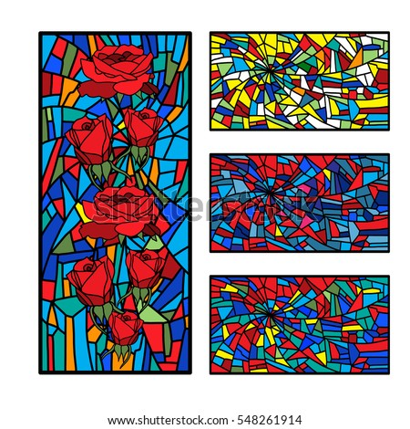 Shutterstock Collection stained glass decorative pattern colored mosaic