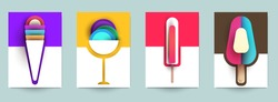 Collection templates cover with ice cream. Abstract art composition in modern geometric papercut style. Minialistic concept design for branding banner, flyer, book, menu, card. Vector illustration.