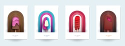 Collection templats cover with ice cream. Abstract art composition in modern geometric papercut style. Minialistic concept design for branding banner, flyer, book, menu, card. Vector illustration.