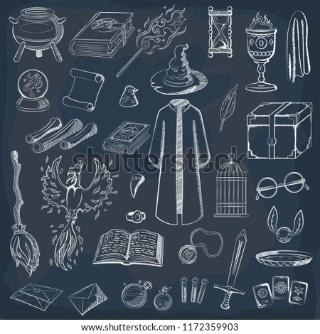 Collection to play a wizard. Things magician: wizard, hat, magic book, scroll, potion, broom, crystal ball, snitch, mantle, sword, cup, ring, chest, fang. Magic things in chalk style