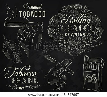 Collection tobacco and smoking elements in vintage style drawing with chalk on chalkboard background.