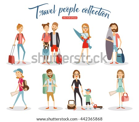 Collection travel people cartoon on white background. Vector eps 10 format.