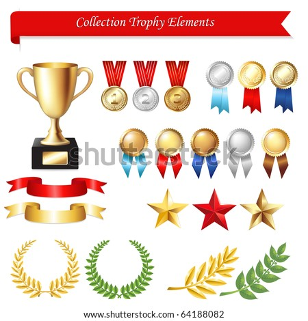Collection Trophy Elements Isolated On White Background Vector Illustration
