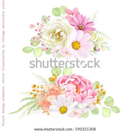 Collection vector decorative design of flowers Rose, Cosmos, Peony, Phlox, Pyrethrum and leaves Silver Dollar Eucalyptus. Vector illustration in vintage style.