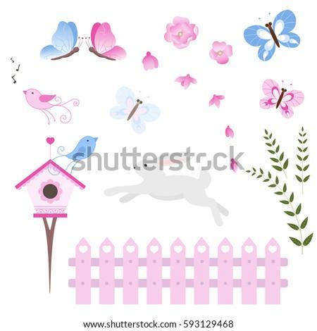 collection vector flowers  bird