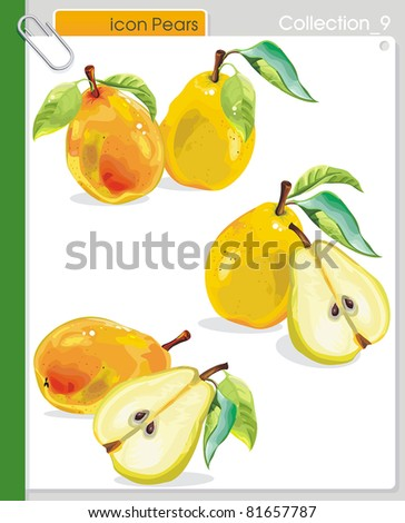 COLLECTION_9 Vector food abstract Icons. Abstract yellow pears.