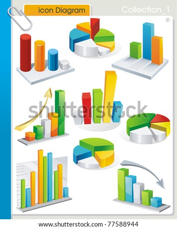COLLECTION_1 Vector graphic collection of stylized icons from colorful diagrams. Set of abstract business and industry web symbols.