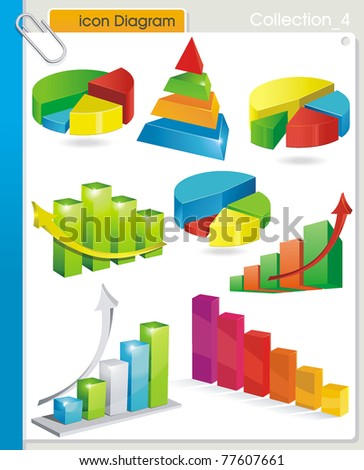 COLLECTION_4 Vector graphic glossy diagram and pie charts on white background. Set of abstract business and industry web symbols.