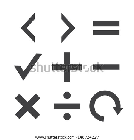 Collection Vector ICON Set math - stock vector