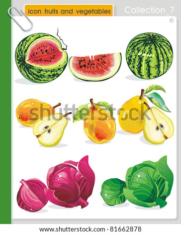 COLLECTION_7 Vector of fruits and vegetables icons. Abstract web symbols.