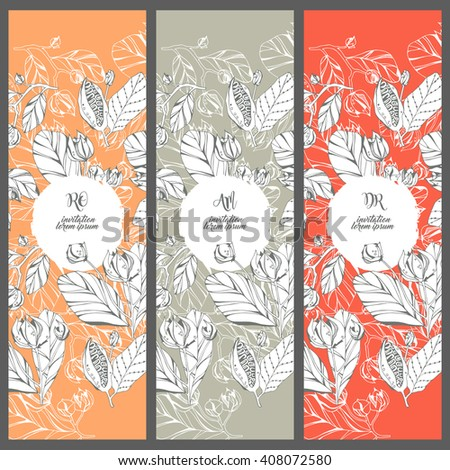 Collection vector template invitations. Floral printable set. #408072580