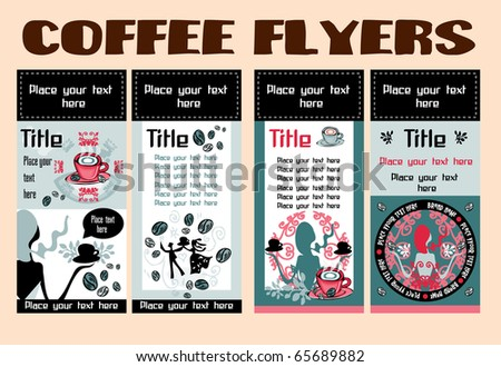 Collection vertical business cards templates, banners, flyers. Cute grunge frame with drinks, coffee, woman and dance couple symbols isolated on background.