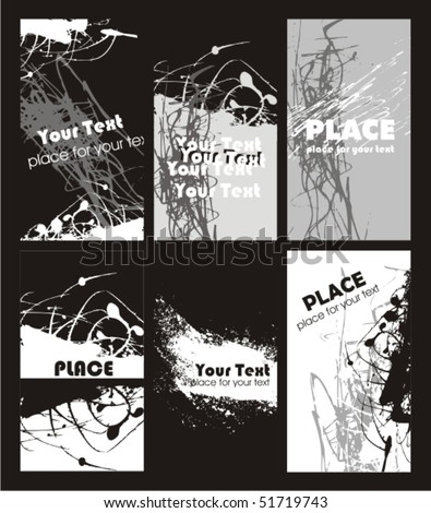 Collection vertical business grunge cards