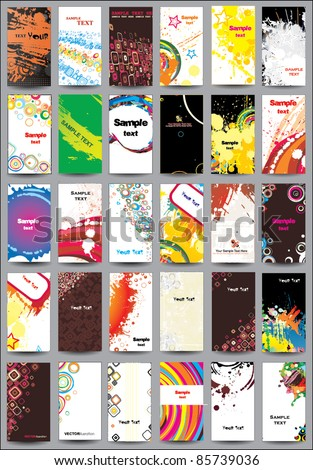 Collection vertical cards on different topics