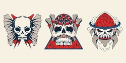 Collection Vintage Design Skull Character Bones Butterfly Rocket Eyes Triangle Japanese Style Horn Cloud Flame Badge Vector Isolated Illustration