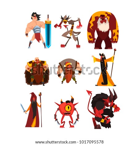 Collection with different fantasy game characters. Cartoon sorcerer, warrior, viking, giant, demon, cyclope, magician. Colorful flat vector design