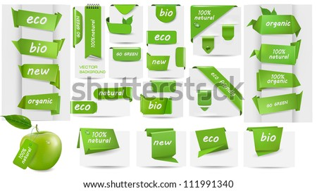 Collection with Eco tags and labels and stickers. Vector illustration