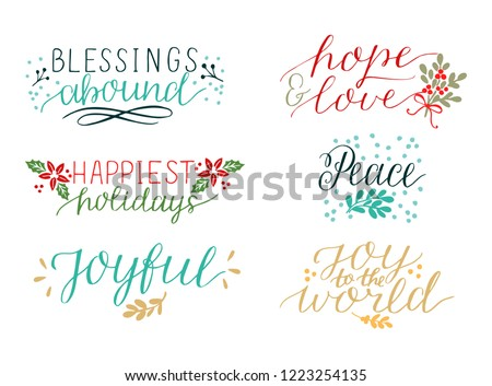 Collection with 6 Holiday cards made hand lettering Blessings abound. Peace. Joy to the world. Joyful. Hope and love. Biblical background. Christian poster. Modern calligraphy Christmas Greetings