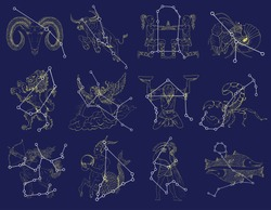 Collection with Zodiac symbols and constellations on blue background. Line art vector with horoscope signs. Doodle mystic and astrology drawing, hand drawn illustration