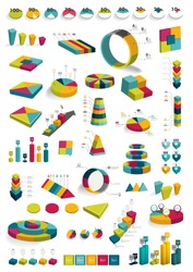 Collections of infographics 3D design diagrams. Various color schemes, boxes, pie charts,, bubbles for print or web design. Vector illustration.