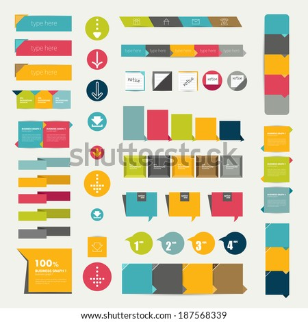 Collections of infographics flat design diagrams Various color schemes boxes ribbons speech bubbles for print or web design Vector illustration