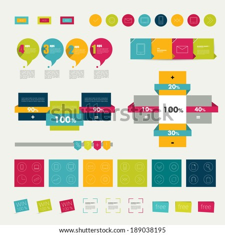 Collections of infographics flat design diagrams. Various color schemes, boxes, ribbons, speech bubbles for print or web design. Vector illustration.