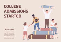College admissions started banner flat vector template. University brochure, poster concept design with cartoon characters. Students enrollment horizontal flyer, leaflet with place for text