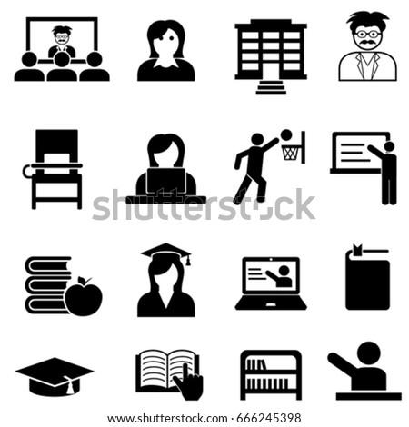 College and university web icon set