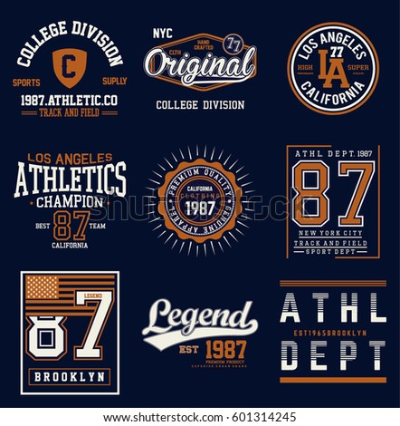College athletics typography set for t-shirt graphics. Vectors