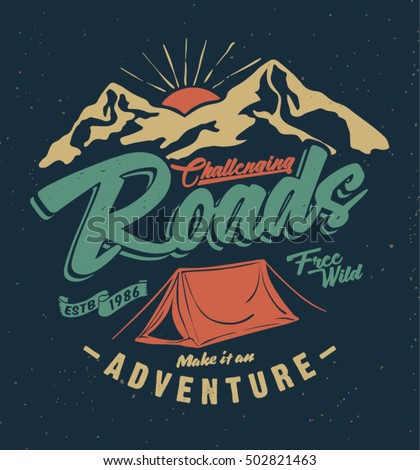 college. camping tent.  vintage tee print design. camping and outdoor adventure vintage emblems.