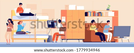 College dormitory. Student hostel, alternative accommodation in dorm. Cartoon boy girl teenager working studying playing vector illustration Сток-фото ©