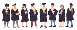 College graduates flat color vector faceless characters set. Girls and boys in bachelor caps isolated cartoon illustrations on white background. Multiethnic university students group holding books