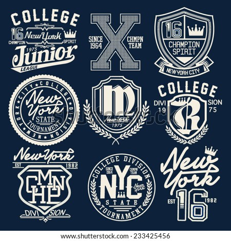 college graphic set for t shirt