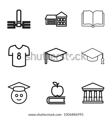 College icons. set of 9 editable outline college icons such as court, school, apple on book, graduate emoji, graduation hat, football t shirt, book