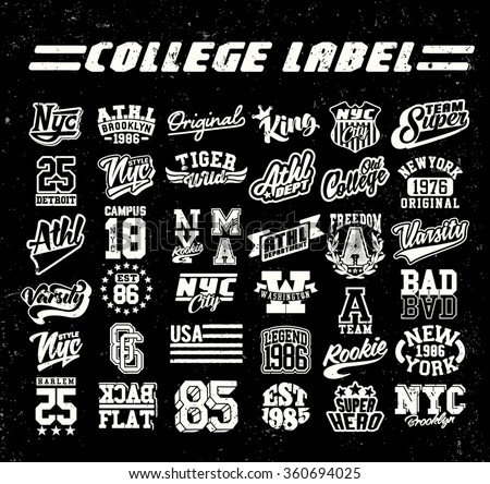 college label set. Vintage tee print