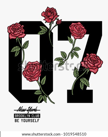 College number with vector roses illustrations for t-shirt and other uses.