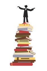 College or university education and graduation concept. Black silhouette of graduating student in a graduation cap and academic dress on top of stack of books. Flat vector.